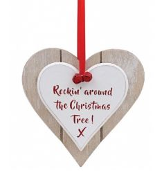 Rockin' around the Christmas Tree! A shabby chic double heart plaque with red festive ribbon and bells.