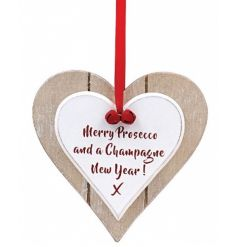 A shabby chic style twin heart plaque with red ribbon, bells and a festive Champagne/Prosecco slogan.