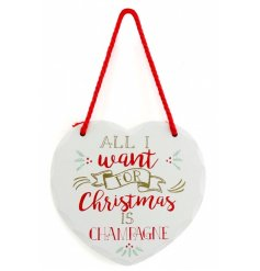 A stylish white wooden plaque finished with a festive quote and holly design