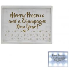 Merry Prosecco and a Champagne New Year LED sign with a gold bubble design.