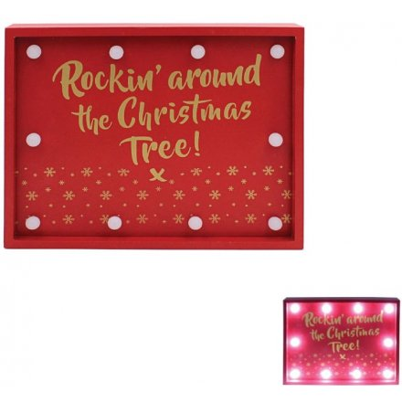 LED Sign Rockin Around Christmas Tree 25cm