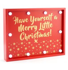 Add that traditional red festive vibe to your christmas display with this stylish wooden sign