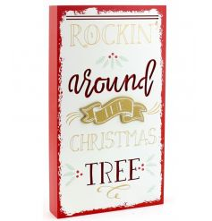 Add a stylish gold and red tone to your christmas decor with this standing wooden 3D plaque