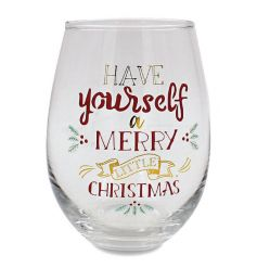 Have yourself a Merry little Christmas stemless wine glass with a matching gift box.