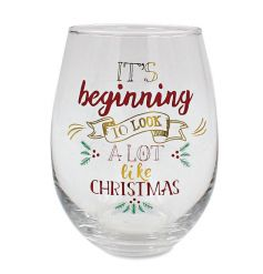 It's beginning to look a lot like Christmas. A fabulous and festive stemless wine glass with a matching gift box.
