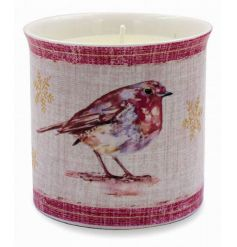 A fine quality winter robin design candle pot with a scented candle. Comes gift boxed.