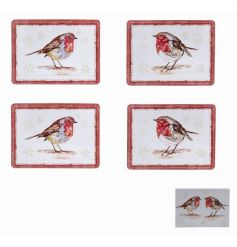 Add a traditional festive tone to any kitchenware style with this set of winter robin coasters