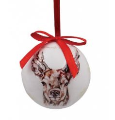 A set of 6 fine quality baubles with a winter stag design and a festive red ribbon to hang.