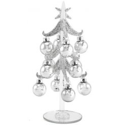 A beautifully delicate glass tree with additional hanging baubles,