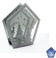 A glamorous diamond shape double plaque with a glitter reindeer scene and LED lights.