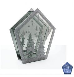 A glamorous silver glitter reindeer scene glass plaque with LED lights. The perfect way to create your own wonderland.