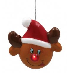 A cute and fun Reindeer face bauble with a flashing LED red nose. A must have festive item this season.