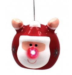 A fun and fabulous flying Santa bauble with a flashing LED nose. A must have this season.