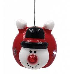 Add this fun flashing LED snowman bauble to your christmas tree for a funky flying look