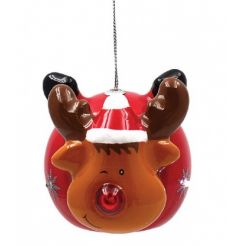 A Reindeer bauble with a flashing LED nose