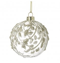 Detailed Glass Bauble   A beautiful glass bauble complete with a delicate gold glittered leaf design