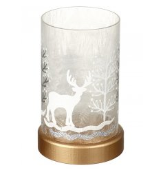 Light up glass decoration with festive and deer illustration