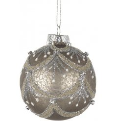 A simply stunning vintage themed hanging glass bauble