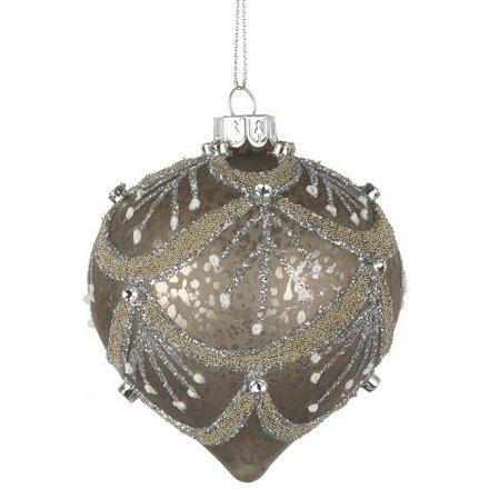Mottled Glitter Glass Droplet Bauble