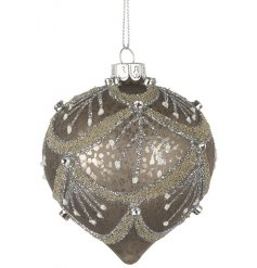 stylish dark mottled glass bauble, beautifully finished with glittered sequins and patterns