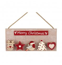 A 'Merry Christmas' wooden hanging memo board with festive pegs