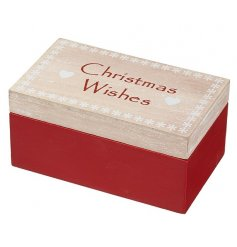 A 'Christmas Wishes' wooden box with red and white detailing