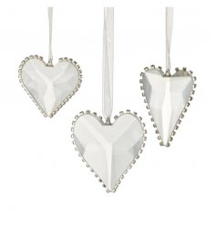 An assortment of 3 cut glass heart hanging decorations