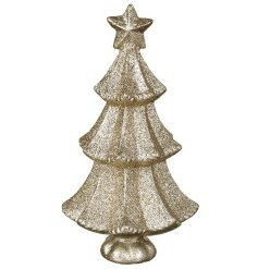 Add this simple glitter themed resin christmas tree to your Glitz, Gold & Cream display for that perfect look