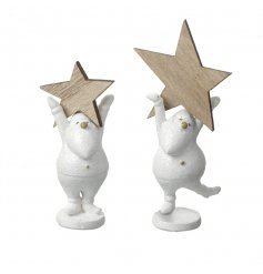 An assortment of 2 white resin Santa figurines holding wooden stars