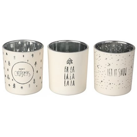 Winter White Christmas Candle Pots