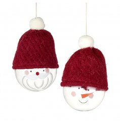 2 festive fun themed glass baubles complete with a Santa and Snowman face and topped with red woolly hats