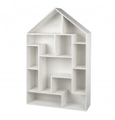 An all white wooden based house shaped standing unit, fitted with assorted sized shelves for a quirky display look