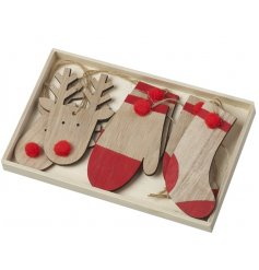 A box of 6 wooden hanging decorations, reindeers, gloves and stockings.