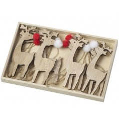 A box of 8 wooden reindeer hanging decorations, with red and white pompoms
