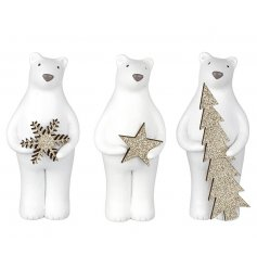 White Resin Bears  3 adorable assorted resin bears holding glittered stars, trees and snowflakes