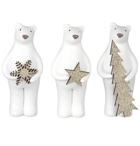 Adorable standing polar bear figures with gold glitter snowflake, star and tree charms.