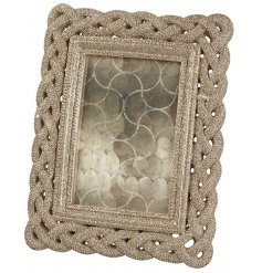 A gold glittery rope resin photo frame