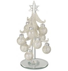 Add some glitz to your christmas decor with this elegant glass tree and hanging glitter baubles