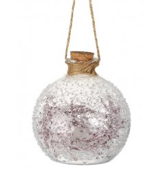 A beautifully designed rough edged glass bauble with fitted purple wiring and warm glowing leds