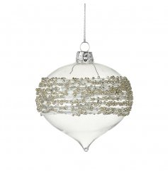 A glitz inspired hanging bauble  with a droplet shape to it