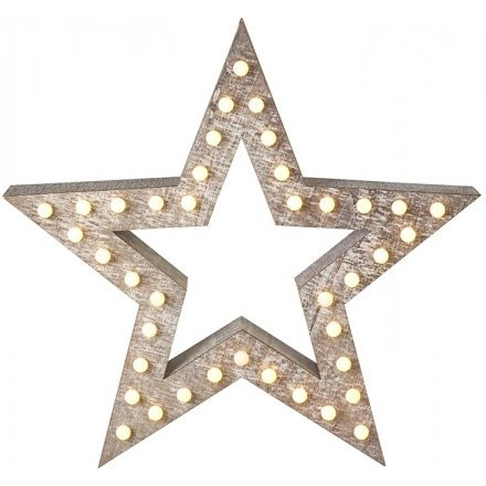 Wooden Star With Led Light Up 52cm