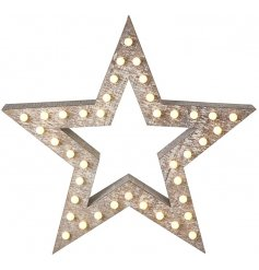 A stylish wooden cut out star with fitted LED bulbs,