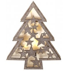 A beautifully simple natural toned wooden block tree with an LED inner for that sweet cozy luminous glow