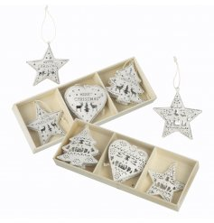 A sweet assorted pack of hanging tree decorations, set in the shape of trees, hearts and stars