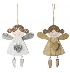 A sweet assortment of two hanging wooden angels in a gold and silver colour.