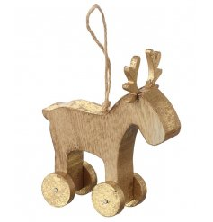 A beautifully simple natural toned wooden reindeer finished with a golden touch on his wheels and antlers.