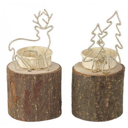 Gold Glitter Woodland Tlight Holders, 2asst