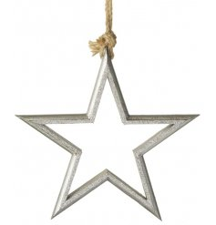 A silhouette silver start hanging decoration