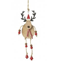 A quirky nordic themed hanging wooden reindeer with beaded dangly legs for that added feature of fun