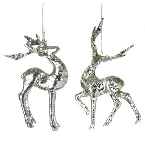 A clear plastic reindeer hanging decoration with a decorative speckled finish
